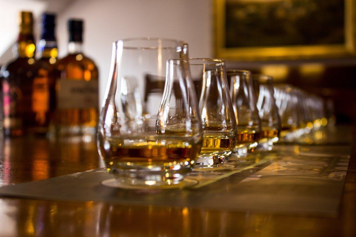 Whiskies on Bar